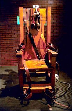 """The now-retired """"Old Sparky"""" electric chair used to electrocute Texas prisoners to death (on exhibit at the Texas Prison Museum in Huntsville)"""