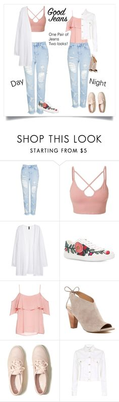 """""""Ripped Mom Jeans: One Pair, Two Looks"""" by forgotten-unicorn ❤ liked on Polyvore featuring Topshop, LE3NO, Kofta, Gucci, BB Dakota, Franco Sarto, Hollister Co. and Maje"""