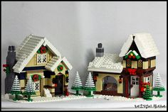 Lego Christmas Train, Lego Christmas Village, Lego Winter Village, Christmas Villages, Christmas Crafts, Lego Projects, Projects To Try, Lego Gingerbread House, Lego Castle