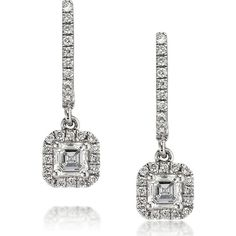 Mark Broumand 0.90ct Asscher Cut Diamond Dangle Earrings (159.920 RUB) ❤ liked on Polyvore featuring jewelry, earrings, white, long diamond earrings, asscher cut diamond earrings, white hoop earrings, dangle earrings and white diamond earrings