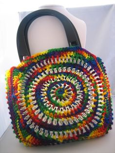 Soda Pop Tabs Crocheted Tote via Etsy... Inspiration