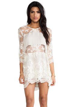Mason by Michelle Mason Long Sleeve Mini Dress in Ecru
