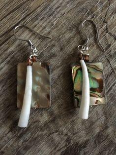 Handmade Yurok abalone and dentalium shell earrings. Northern California Native American