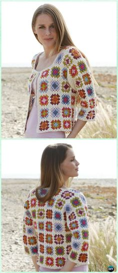 Crochet Summer Patchwork Granny Square Jacket Free Pattern - Crochet Granny Square Jacket Coat Free Patterns