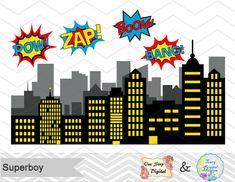 Supergirl Little Girl Digital Clip Art, Digital Superhero Clipart, Cute Supergirl Clipart Superheroes Pop Art Text and Bubbles Clip Art 0187 Batman Birthday, Superhero Birthday Party, Boy Birthday Parties, Superhero Pop Art, Superhero Clipart, Bolo Lego, Spiderman Cake Topper, Festa Pj Masks, Clip Art