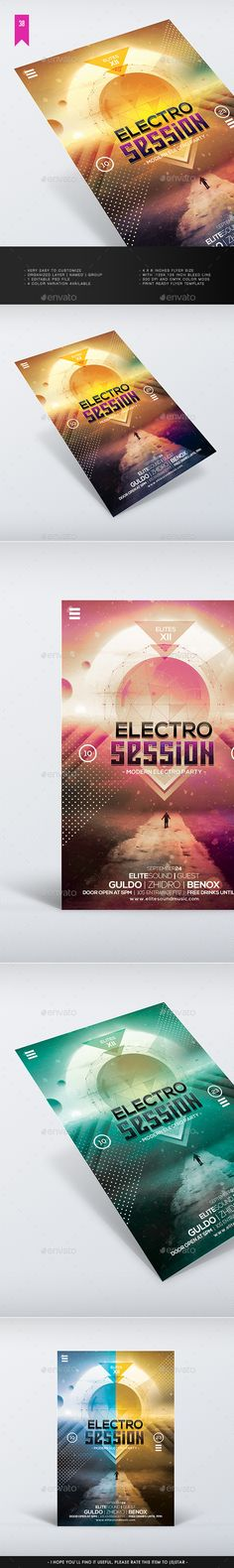Electro Session - Flyer Template PSD #design Download: http://graphicriver.net/item/electro-session-flyer-template/12967758?ref=ksioks
