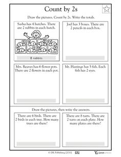Visualizing skip counting by 2 - Worksheets & Activities Skip Counting Activities, Skip Counting By 2, Math Activities, Math Literacy, Math Classroom, Teaching Math, 1st Grade Math Worksheets, First Grade Math, Grade 2