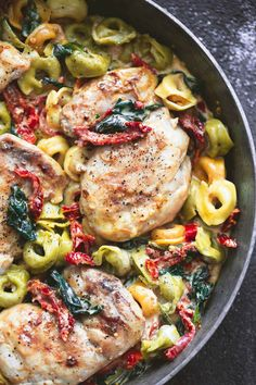 One Pan Tuscan Garlic Chicken Tortellini