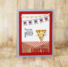 Card by Taylor Van Bruggen  (120715)  [Taylored Expressions (dies) Picture Perfect Valentine, Pizza My Heart, Skinny Mini Valentine Borders; (stamps) Pizza My Heart]