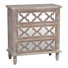 Ella Mirrored Quatrefoil 3-Drawer Chest | Kirklands