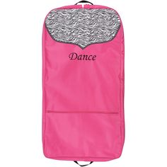 """Sassi Designs Girls Pink Zebra Polka Dot Grosgrain Trim Dance Garment Bag. Pink Zebra garment bag a trendy and useful accessory from Sassi Designs. Screen printed zebra pattern with embroidered """"Dance"""" and polka dot grosgrain ribbon trim. Fully lined with top opening for hangers. Sizes"""" 42'x 21""""x 2.5"""". Sizing is based on U.S. clothing size standards."""