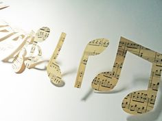 Music garland musical notes paper bunting by OKIFOLKI on Etsy, £15.00