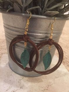 Leather Leaf Earrings Brown Bohemian w/Brass Verdigris Patina