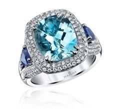 #Aquamarine and 18k white gold ring