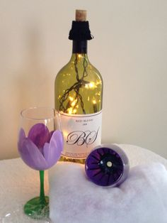 Hand painted flower wine glass