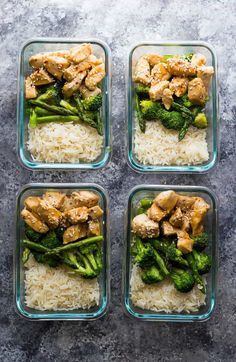 These Honey Sesame Chicken Lunch Bowls have chicken breast, broccoli and asparagus tossed in a sweet and savory honey sesame stir fry sauce. Perfect for healthy meal prep lunches!