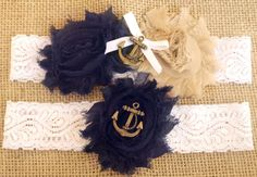 Marine / Navy Wedding Garter w/ Anchor Blue and by BrilliantBride, $39.50