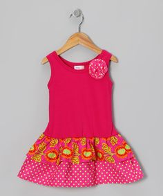 Take a look at this Hippo Hula Pink & Lime Tulip Amy Dress - Infant & Toddler on zulily today!