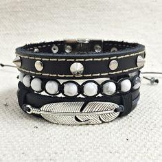 Kit 3 Pulseiras Masculinas Couro Shambala Pedra Howlita Pena mens fashion bracelets cocar brasil