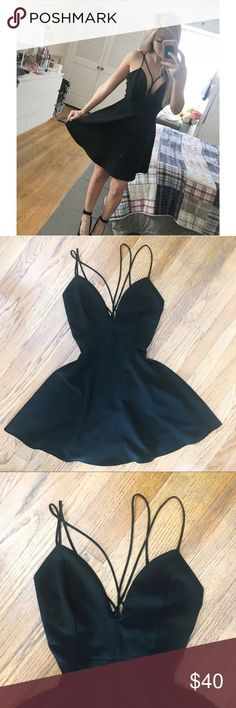 """ANGL Strappy Plunging Dress ▪️ Plunging Neckline ▪️ Straps from center that criss cross in back ▪️ Straps are not adjustable  ▪️zipper enclosure in back ▪️ 32 1/2"""" Top of Strap to bottom of dress  ▪️ Fits like a true Medium.   Recommendations: Pair with Strappy black or nude heels . Perfect for girls night out or date night! 🌹 ANGL Dresses"""