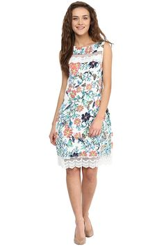 0606af8b52 Miss Chase Women s Multicolored Sleeveless Round Neck Mini Floral Shift  Dress Western Wear Dresses