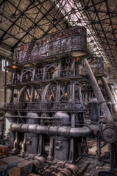 Steampunk, industrial, beauty Evan grew up in a factory like this. Abandoned Buildings, Abandoned Places, Steampunk Kunst, Gothic Steampunk, Steampunk Clothing, Victorian Gothic, Gothic Lolita, Steampunk Fashion, Abandoned Factory