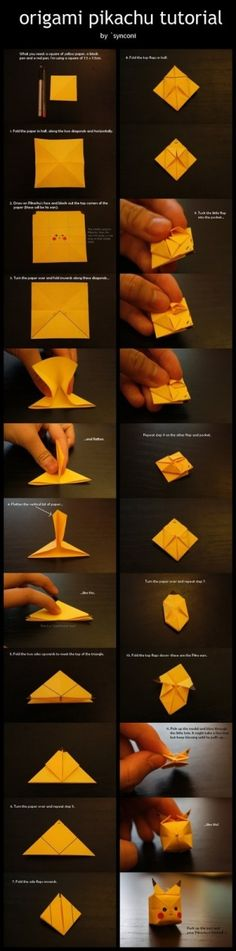 Funny pictures about Origami Pikachu. Oh, and cool pics about Origami Pikachu. Also, Origami Pikachu photos. Origami Diy, Origami Tutorial, Origami Balloon, Hanging Origami, Basic Origami, Origami Flower, Dollar Origami, Origami Design, Diy Hanging