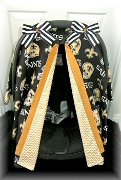 car seat canopy, car seat cover, NFL, Saints, gold, New Orleans, football, polka dot, infant girl, baby, baby boy, infant boy on Etsy, $42.99