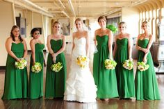 Green bridesmaid dresses - photo by Figlewicz Photography