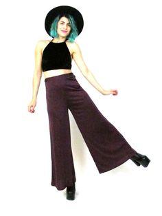70s Purple Palazzo Pants Disco Wide Leg Trousers by honeymoonmuse