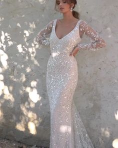 """Handmade Stunning Embellished Slip Sheath Wedding Dress / Bridal Gown with V-Neck Cut, Open Back and a Train. Bridal Collection 2020 """"Lumière"""" by Anna Campbell Stunning Wedding Dresses, 2015 Wedding Dresses, Bridal Dresses, Wedding Gowns, Lace Wedding, Anna Campbell Dress, Indigo Dress, Wedding Dress Sleeves, Mermaid Dresses"""