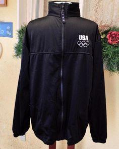 United States Olympic Committee Black Fleece Track Jacket Adult XL Made in USA #USOC #UnitedStates