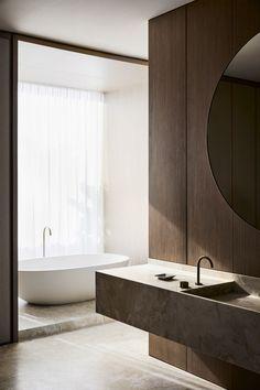 Australian Interior Design, Interior Design Awards, Bathroom Interior Design, Laundry In Bathroom, Master Bathroom, Greige, Bathroom Design Inspiration, Deco Originale, Interiores Design