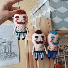 Little circus guy - is 10 cm of charm with a cute brown mustache. He is made out of natural cotton, wool hair and acrylics paintings. It may be a cute beautiful present for yourself, your lover or coworker Delivery is for free