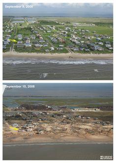 Port Bolivar before & after Hurricane Ike  2008