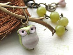 Green Owl Bracelet Olive Jade Gemstone Porcelain by BlueDoveStudio, $21.00