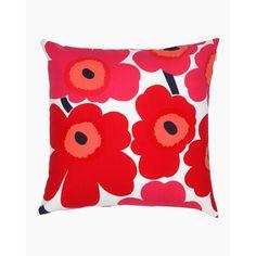 Pieni Unikko cushion cover  50x50 cm - white, red - All items - Home  - Marimekko.com Marimekko, Design Shop, Poppy Pattern, Diy Accessoires, Bottle Crafts, Cushion Covers, Poppies, Pillow Cases, Upholstery