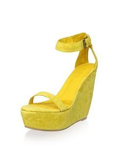 Plomo Women's Alex Wedge Sandal, Yellow, 36 M EU/6 M US