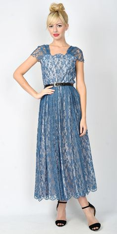 Vintage 50s Blue Floral Lace Maxi Dress Cocktail by thekissingtree