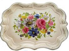 Huge Vintage Shabby Chic Cream Chippendale Rim Toleware Tole Tray Pink Roses Bouquet