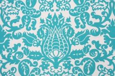 5 Yards Premier Prints Amsterdam Printed Cotton Drapery Fabric in True Turquoise -- living room curtains