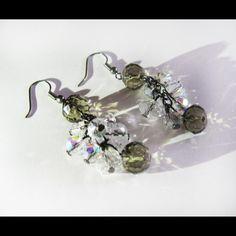 Orecchini di diamante nero estate / orecchini di cristallo bling / perline orecchini / nero orecchini di cristallo del diamante / diamante Bracciale in cristallo nero