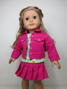 American Girl doll clothes  Fuchsia  jean jacket. by JazzyDollDuds, $20.00