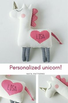 Personalized baby gifts Personalized unicorn plush Unicorn birthday party Unicorn for baby shower Unicorn for babies Unicorn for girls toys / Единорд, Sewing Projects For Kids, Sewing For Kids, Diy For Kids, Gifts For Kids, Sewing Ideas, Sewing Toys, Baby Sewing, Sewing Crafts, Free Sewing