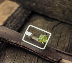 Unique Silver Peridot Ring Sterling Silver by SabineJewelry