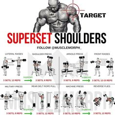 (Swipe Left) Complete 6 days a week superset workout plan!✅ Monday Chest Tuesday Back Wednesday Shoulders Thursday Legs Friday Arms Saturday Abs Sunday Rest Enhance your progre is part of Shoulder workout - Fitness Workouts, Weight Training Workouts, Gym Workout Tips, Week Workout, Back Superset Workout, Deltoid Workout, Traps Workout, Tuesday Workout, Push Pull Workout Routine