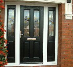 uPVC & Composite Doors From The Real Bridgnorth Windows Black Front Doors, Front Doors With Windows, Porch Doors, Modern Front Door, Front Door Entrance, Dark Doors, Black Door, House Windows, Brick Porch
