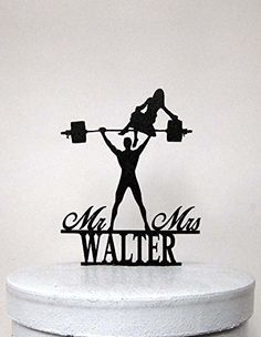 Wedding Cake Topper - Your Man is Srong! Weight lifting Groom silhouette with Mr & Mrs name Frog Studio Home http://www.amazon.com/dp/B00S27X99C/ref=cm_sw_r_pi_dp_9jdhvb0B7MY1D