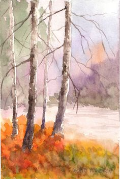 Original Watercolor Painting, Birches II, shipping FREE