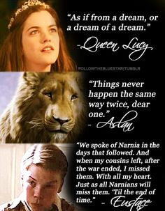 Chronicles of Narnia - a quote from each of the three books/movies:  The Lion, the Witch, and the Wardrobe; Prince Caspian; and Voyage of the Dawn Treader.